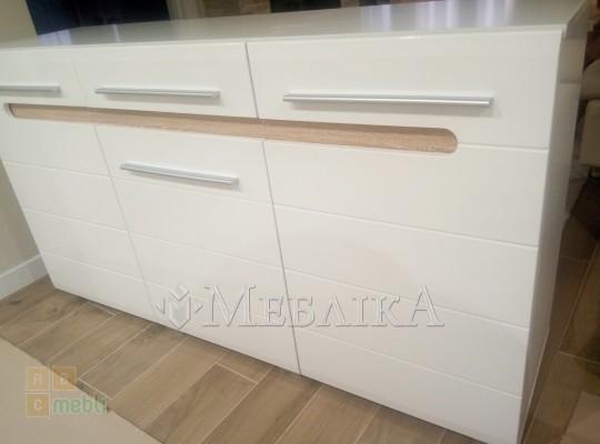 Односпальне ліжко Б'янко білого кольору або дуб сонома-графіт з підсвіткою