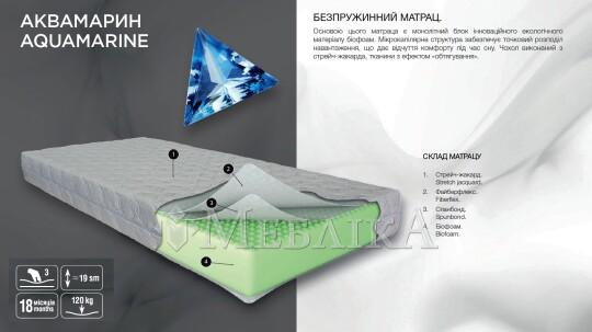 Безпружинний матрац Аквамарин з монолітним блоком в основі