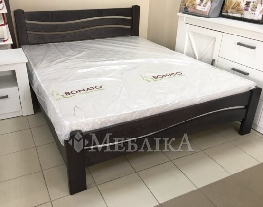 Нове дерев'яне ліжко Женева з асиметричним дизайном спинок