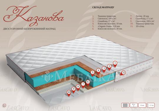 Безпружинний ортопедичний матрац Казанова середньої висоти