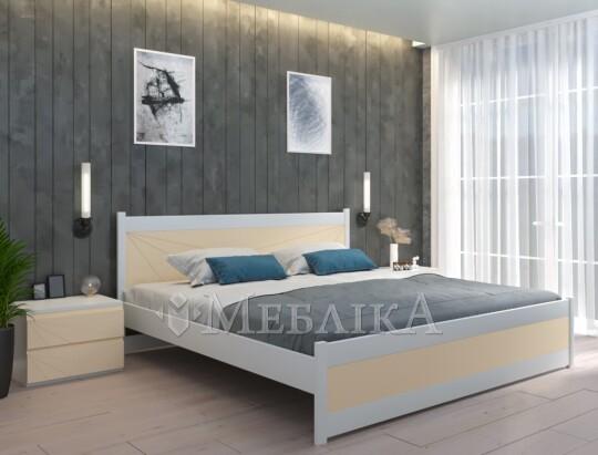 Букове двоспальне ліжко Бордо з оригінальними кольоровими вставками