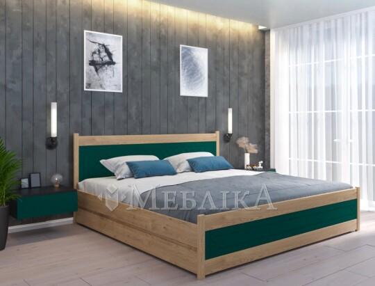 Двоспальне ліжко букове Ліон з МДФ вставками різних кольорів