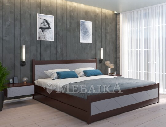 Ліжко двоспальне Марсель в різних кольорах з контейнерами для зберігання