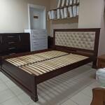 Букове ліжко Лорд М 50 із м'якою спинкою, каретною стяжкою та ґудзиками
