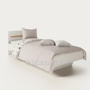 Односпальне ліжко Б'янко білого кольору зі вставкою дуб сонома і підсвіткою