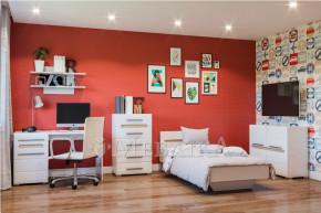 Кімната для підлітків з елементів системи Б'янко в білому кольорі з вставками дуб сонома