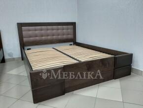 Ліжко з ясеня Регіна з закритими боковинами, м'якою спинкою