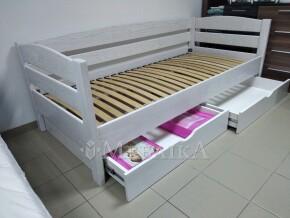 Односпальне дерев'яне ліжко Диванчик з бортами безпеки та шухлядами
