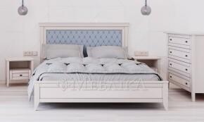 Двоспальне ліжко з дерева вільхи Вірджинія – м'яка оббивка спинки