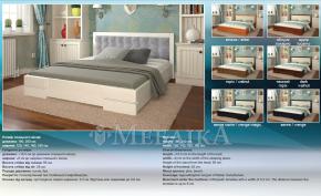 Дерев'яне ліжко з м'яким узголів'ям Регіна – оббивка шкірзам