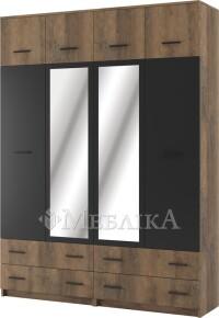 Висока шафа 4Д Лотос з антресолями й шухлядами